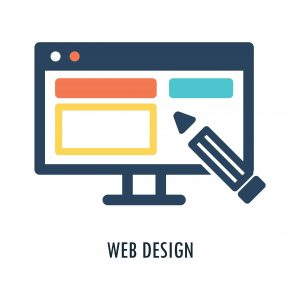web design graphic with computer screen and pencil