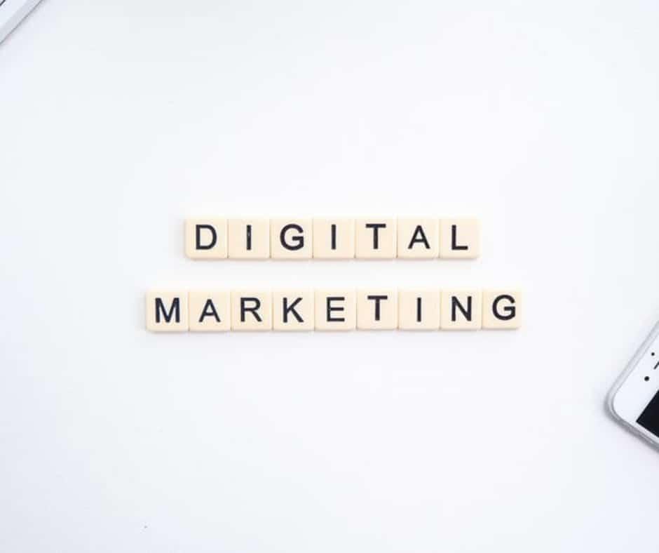digital marketing spelled in Scrabble tiles